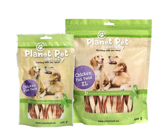 Snack Cane Planet Pet Society Pollo Pesce Twist